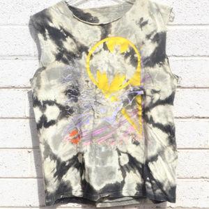 Batman Tie Dyed Distressed Tank Fringe Shirt OOAK
